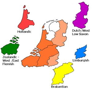 Dutch speaking area, roughly Flanders and the Netherlands without Friesland.